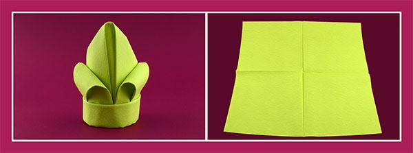 Papierservietten falten Anleitung Lilie, 1