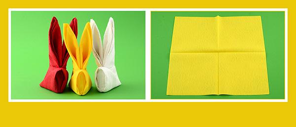 Papierservietten falten Anleitung Osterhase