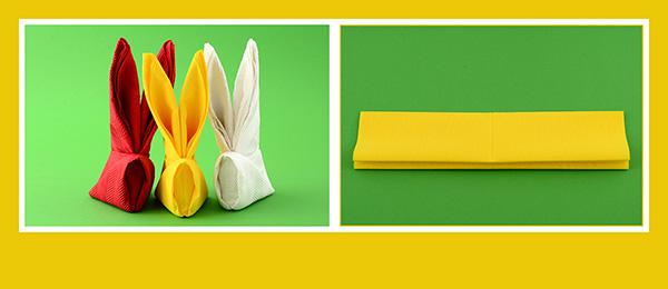 Papierservietten falten Osterhase Anleitung