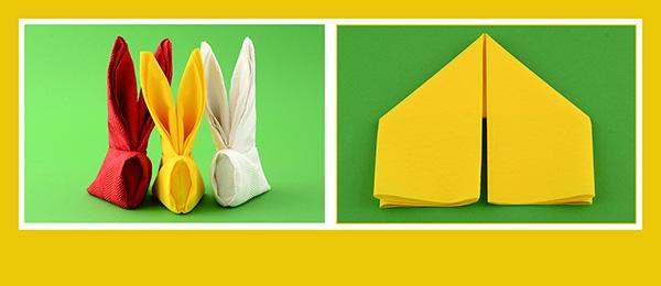 Papierservietten falten Ostern