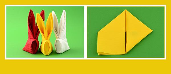 Papierservietten falten Tischdeko Ostern