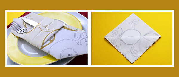 Doppelte Bestecktasche aus Papierservietten falten Duni Servietten