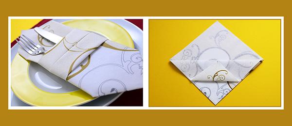 Doppelte Bestecktasche aus Papierservietten falten schnell und einfach