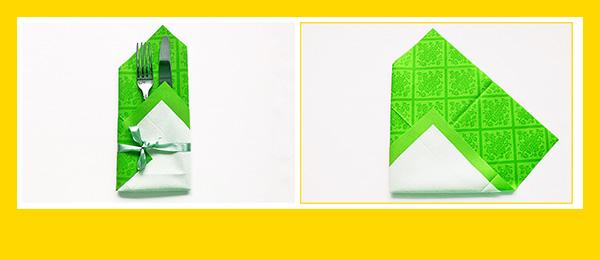 Papierperserviette falten Anleitung Bestecktasche