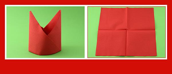 Papierservietten falten Anleitung Bischofsmütze 1