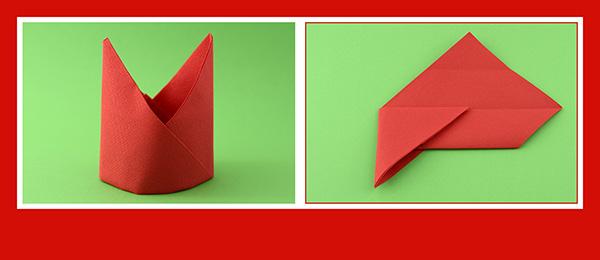 Papierservietten falten Anleitung Bischofsmütze 10