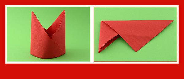 Papierservietten falten Anleitung Bischofsmütze 11