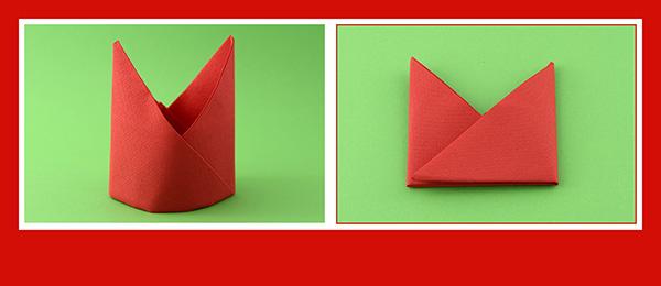 Papierservietten falten Anleitung Bischofsmütze 13