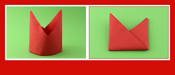 Papierservietten falten Anleitung Bischofsmütze 14