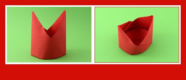 Papierservietten falten Anleitung Bischofsmütze 15