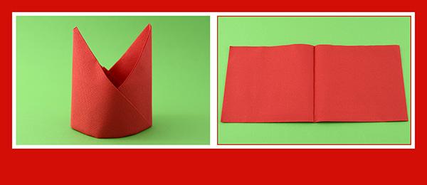 Papierservietten falten Anleitung Bischofsmütze 2