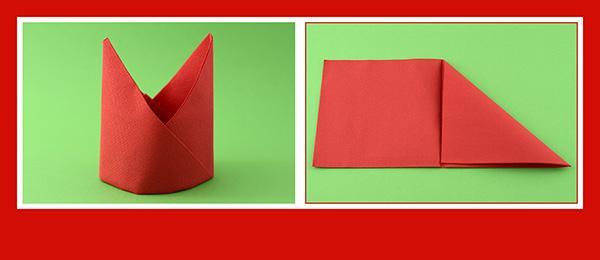 Papierservietten falten Anleitung Bischofsmütze 3