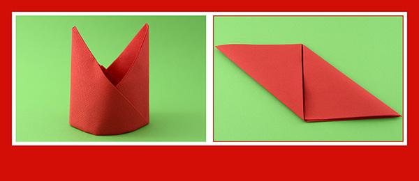 Papierservietten falten Anleitung Bischofsmütze 4