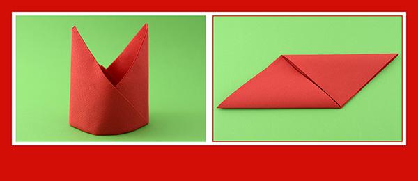 Papierservietten falten Anleitung Bischofsmütze 5