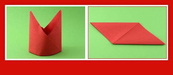 Papierservietten falten Anleitung Bischofsmütze 6