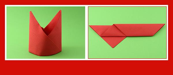 Papierservietten falten Anleitung Bischofsmütze 7