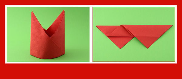 Papierservietten falten Anleitung Bischofsmütze 8