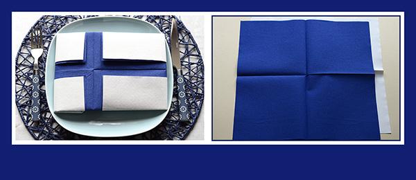 Papierservietten falten Anleitung Finnische Flagge