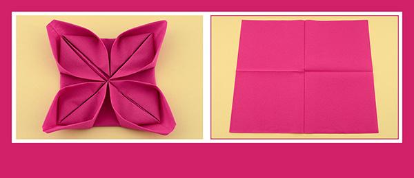 Papierservietten falten Anleitung Rose 1