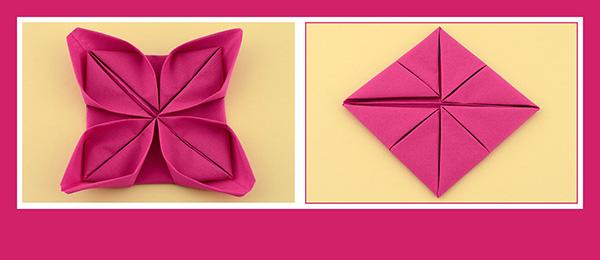 Papierservietten falten Anleitung Rose 2