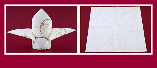 Papierservietten falten Anleitung Schleppe