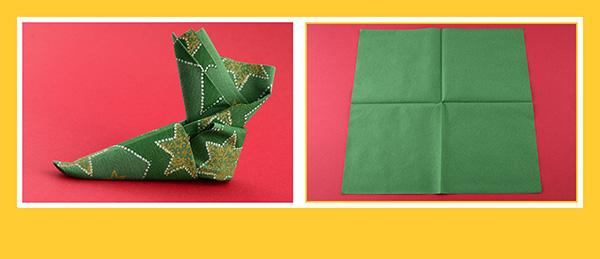 Papierservietten falten Anleitung Stiefel 2