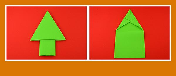 Papierservietten falten Anleitung Weihnachsbaum