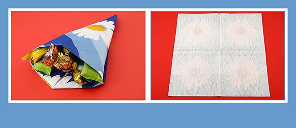 Papierservietten falten Anleitung zur Einschulung