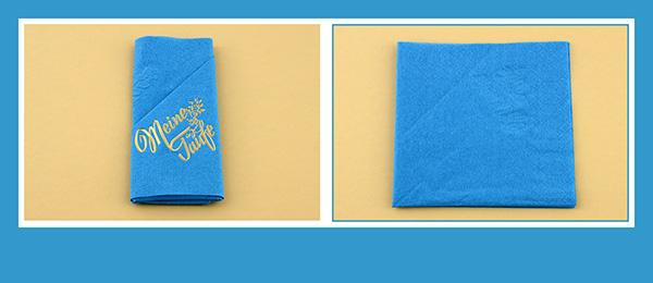 Papierservietten falten Anleitung zur Taufe beschriftet Serviettentasche