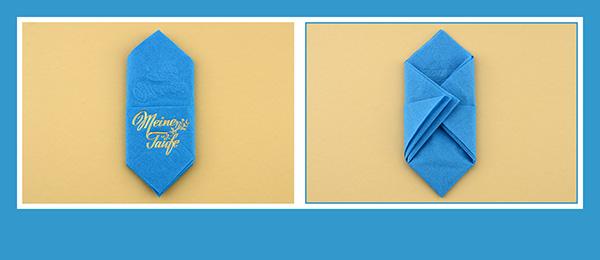 Papierservietten falten  beschriftet