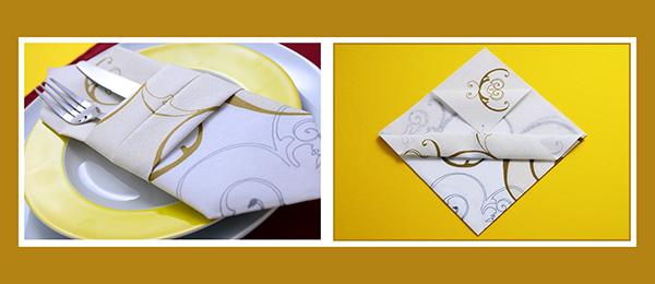 Papierservietten falten Bestecktasche