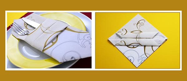 Papierservietten falten Bestecktasche Servietten mit Muster Hochzeit