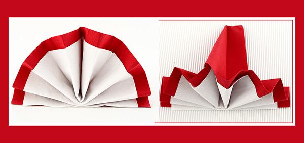 Papierservietten falten doppelter Fächer 2