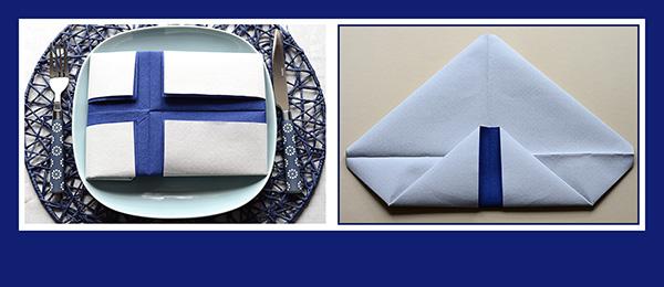 Papierservietten falten Finnische Flagge Anleitung