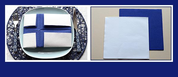 Papierservietten falten Finnische Flagge