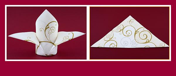 Papierservietten falten  für Hochzeit