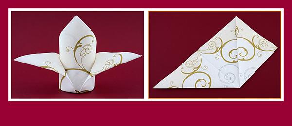Papierservietten falten für Hochzeitsdeko