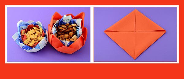 Papierservietten falten für Kinderparty