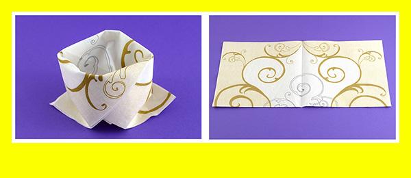 Papierservietten falten Goldene Hochzeit 1