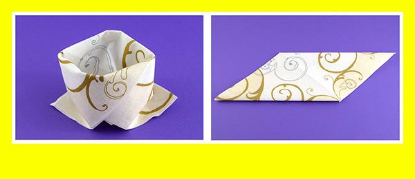 Papierservietten falten Goldene Hochzeit 4