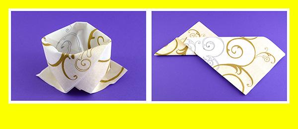 Papierservietten falten Goldene Hochzeit 6