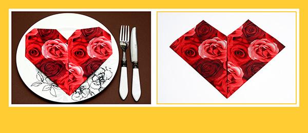 Papierservietten falten Herz zum Valentinstag