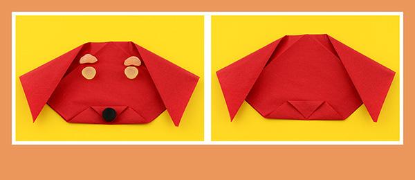 Papierservietten falten Kindergeburtstag Anleitung Hund