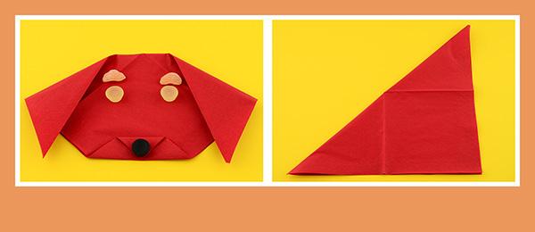 Papierservietten falten Kindergeburtstag Hund