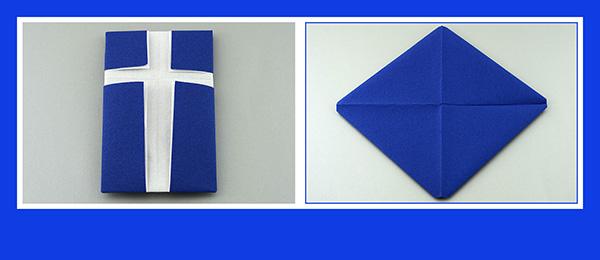Papierservietten falten Konfirmation Kreuz