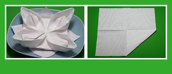 Papierservietten falten Lotusblüte