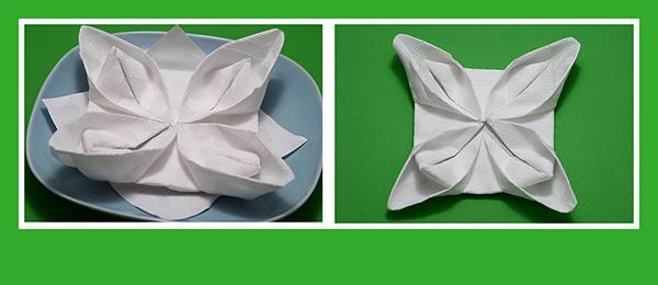 Papierservietten falten Lotusblüte Seerose
