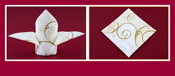 Papierservietten falten mit Muster