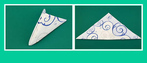 Papierservietten falten Pyramide zum Geburtstag