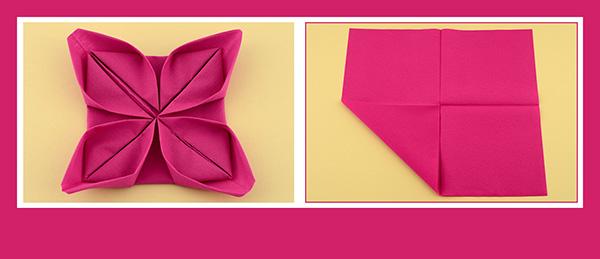 Papierservietten falten Rose